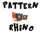 Seed Bead PATTERNS, Brick Stitch Earrings - Pendant, Cute Rhino Bead Art