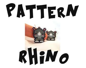 Seed Bead PATTERNS, Brick Stitch Earrings - Pendant, Cute Rhino Bead Art