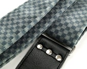 Checkered Guitar Strap Made of Vintage 80's American Car Seat Fabric