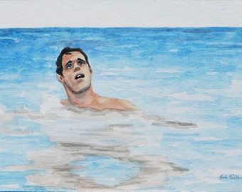 Startled Swimmer - Original Watercolor Painting - 4x6