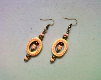 Pink and Cream Earrings (1332)