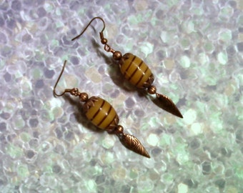 Honey Gold and Copper Ethnic Earrings (1670)