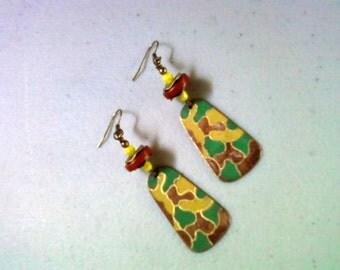 Brown, Chartruese and Emerald Green Ethnic Camoflauge Earrings (1487)