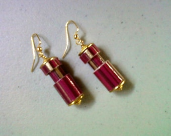 PInk and Gold Striped Earrings (1303)