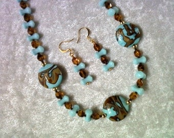 Brown and light blue necklace and earrings (0699)