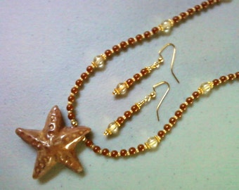 Brown and Beige Starfish Necklace and Earrings (0311)