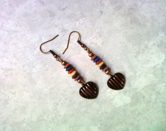 Copper Heart Dangle Earrings (1882)