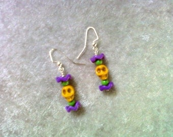 Yellow, Green and Purple Skull Earrings (0948)