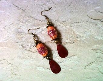 Fuschia and Orange Earrings(1580)