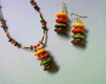 Sunny Marigold, Pumpkin, Green and Brown Earthtone Necklace and Earrings (0232)