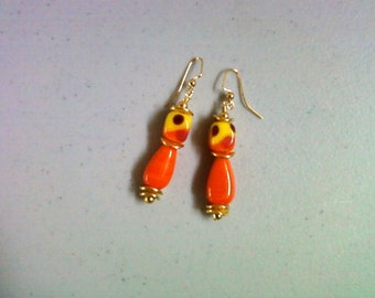 Orange, Yellow, Red, and Maroon Earrings (1336)