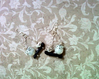 Gray, Silver and Black Owl and Bird Earrings (2158)