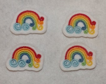 Feltie Machine Embroidered Hand made (4) Felt Rainbow CUT Embellishments / appliques