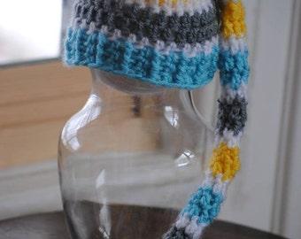 Newborn Pixie Hat Coordinate with Nursery/ Newborn Girl Hat/ Newborn Boy Hat/ Custom Made Hat/ Crochet Pixie Hat