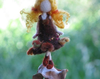 Needle felted Waldorf inspired Little Autumn Fall Fairy Ornament Mobile 2
