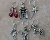 Stitch Markers - Wizard of Oz,  Set of 6, Fits up to US 10.5 and UK 3 Knitting Needles, No Snag, Closed Ring, Knit or Crochet