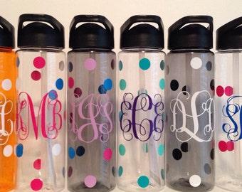 24 oz. personalized monogram plastic water bottle with straw polka dots Kids sports vine interlocking