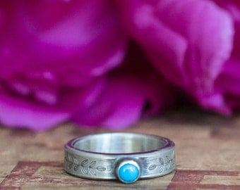 Alternative Engagement Ring - Turquoise and Sterling Silver Rustic Engagement Ring - Rustic Ring - Personalized Gift for Her Girlfriend Wife