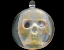 Flameworked Glass Ghost Skull Pendant by Bashi Alé