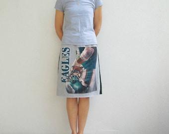Philadelphia Eagles T-Shirt Skirt Women's Skirt Womens TShirt Skirt Gray Green Recycled Knee Length Skirt Cotton Skirt Soft Spring ohzie