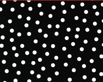 "LAMINATED Cotton  - Black Polka Dot, 56"" Wide, BPA & PVC Free"