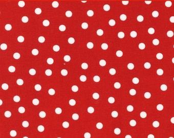 "LAMINATED Cotton  - Red Polka Dots - Robert Kaufman, 56"" Wide, BPA & PVC Free"