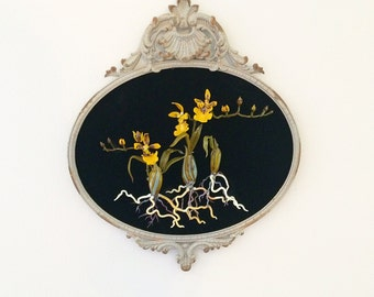 Botanical Study of Yellow Orchid in Glass