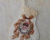 Shabby Victorian Mitten Santa Christmas Ornament Ivory Rust Brown Vintage Santa