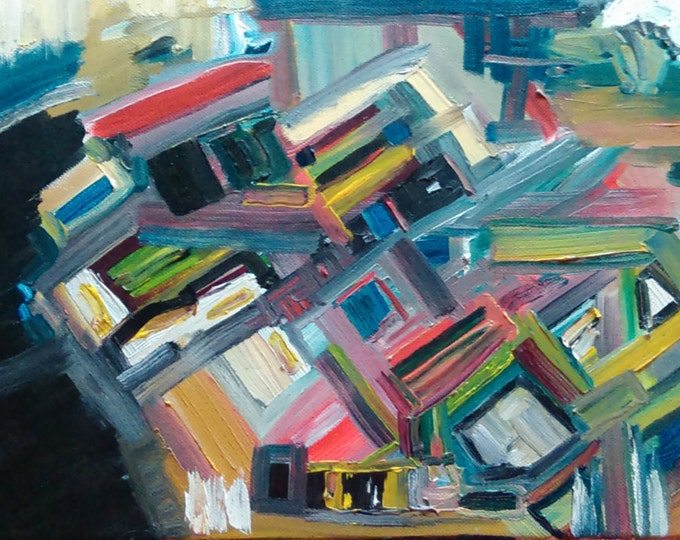 "Abstract oil painting. 11"" X 14""  cityscape: ""Leaning Into the Wind"""