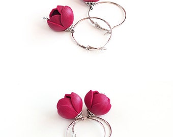 SALE 10% OFF Handmade leather earrings with Dark pink flowers. Unique summer accessories