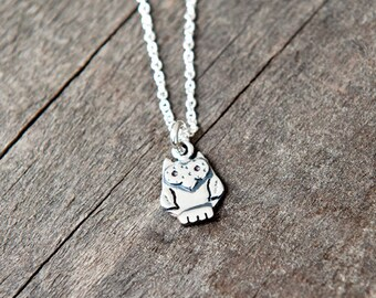 Owl pendant sterling silver / bird necklace / 925 / chain / nature / valentine gift