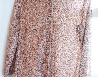 1960s Boho Peasant Top Blouse, Vintage Bohemian Shirt, Floral Top, Boho Office Ware, Bobbie Brooks, Brown and Cream, Coronet Top, Ladies