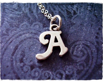 Silver Cursive A Initial Necklace - Sterling Silver Cursive Initial A Charm on a Delicate Sterling Silver Cable Chain or Charm Only