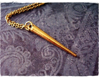 Long Gold Spike Necklace - Antique Gold Pewter Long Spike Charm on a Delicate Gold Plated Cable Chain or Charm Only