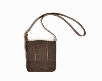 Vintage Tweed Crossbody Purse / Vegan Leather & Wool Bag