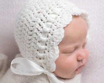 Crochet Baby Bonnet - Baby Girl Crochet Hat - Coming Home Outfit - Infant Girl  Hat- Newborn Girl Hat -Newborn Photo Prop - Crochet Baby Hat