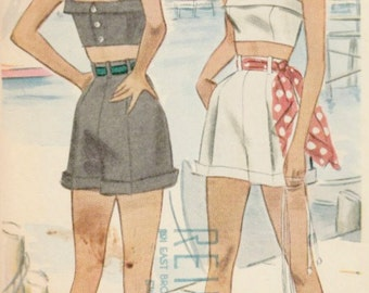 1940s Playsuit Pattern  McCALL 7262 Misses' Shorts and Bra Top Circa 1948  Bust 30