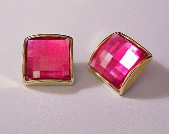 Pink Square Clip On Earrings Gold Tone Vintage Large Faceted Clear Lucite