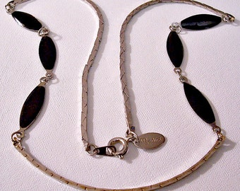 Medici Black Discs Necklace Choker Silver Tone Vintage Oval Accents Cobra Flat Box Link Chain Hangtag Round Spring Clasp
