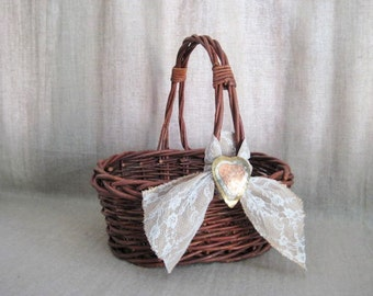 Rustic Basket with Burlap, Lace and Tri-Color Metal Heart / Wedding / Reception / Program Basket / Favor Basket / Vineyard/Farmhouse/Beach
