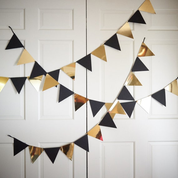 Bunting banner for black and gold party decor ships in 1 3 business