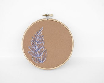 "Embroidered Brown and Lavender Botanical Leaf Design. Hand-Embroidered Floral Art  in 5"" Hoop"