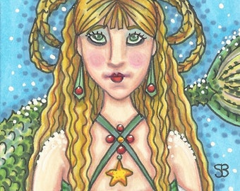Christmas MERMAID Siren Fantasy Art ACEO Susan Brack Ebsq