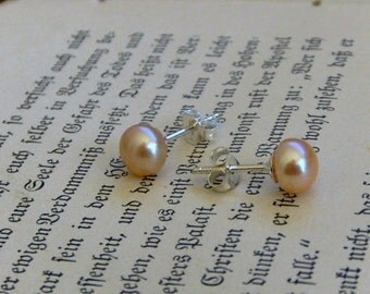 Champagne Bubbly peach pearls. Handmade Genuine Freshwater Pearl and Sterling Silver Simple Studs post earrings