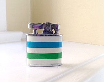 Vintage Sun Lighter Made in Japan with Blue And Green Stripes