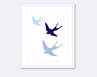 Nursery Birds Wall Art Print Three Flying Birds - Swallows - Blue and White Nursery Art Print - Baby Art Gift