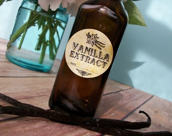 Vintage Vanilla Extract bottle labels, rustic cottage chic round stickers for amber bottles or mason jars, wedding and shower favors