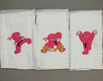 Ninja baby girl  burp cloths set Karate baby girl burp cloth set