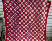 C.1890 Antique Nine Patch Quilt / Very Good Condition