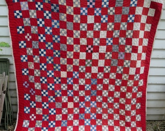 C.1890 Antique Nine Patch Quilt / Folk Art / American Country